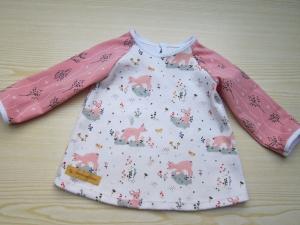 Baby rosa Eco Rehkitz Kleidchen, Baby Tunika, T-shirt Kleid in Größe 62-68, verschieden Größen möglich - Handarbeit kaufen