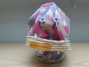 Berg Tiere Mütze, Mütze in rosa und beige, Mütze zum Set, Öko Mütze, - Handarbeit kaufen