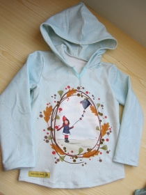 Drachen Flieg! Hoody Sweatshirt Jacke in Gr 110 Öko Baumwolle Schlupf Hoodie hell blau farben.