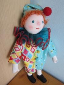 Kasperl Puppe, Kasper, lustiger Clown, Columbine  OOAK, Waldorf Stil 32 cm, Original, Casper - Handarbeit kaufen