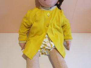 Senf gelber Jersey Strickjacke  in Öko Baumwolle mit Pearlmuttknöpfe Größe 74 (Kopie id: 100142672) - Handarbeit kaufen