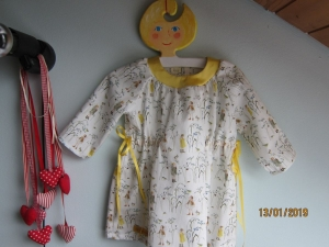 Langarm  Kleid  Feen mit Vögel im Feld Hängerchen  Bio Gr. 80 aus bio Baumwolle