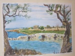 Original Aquarell Gemälde, Alte Brücke on the Sardienen Küste, Landschaft - Handarbeit kaufen