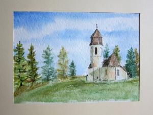 Original Aquarell Gemälde, Kapelle am Waldrand, Landschaft in klein Format 24 cm x 17 cm - Handarbeit kaufen