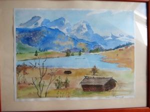 Original Aquarell Gemälde, Golden Boden Alpen Vorland Landschaft, Landschaft - Handarbeit kaufen