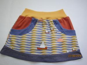 Mädchen Sommer Segel Rock aus Bio Jersey, Jolle Boote Motiv  Gr. 116, Bio Baumwolle, Starnberger See Rock - Handarbeit kaufen