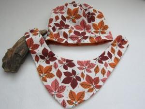 Wendbares Baby Mütze und Schal,  Mütze in herbst Blätter Farben, Mütze zum Schal Set, Öko Jersey - Handarbeit kaufen