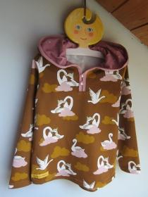 Glitzer Schwanen Hoody Sweatshirt Jacke in Gr 116 Öko Baumwolle Schlupf Hoodie braun/ rosa farben. - Handarbeit kaufen