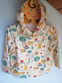 Baby Hoodie in Öko Baumwolle  Größe 86,  Schlupf Hoodie Herbst Farben. Waldtiere, Reh, Waschbär, Bär, Igel - Handarbeit kaufen