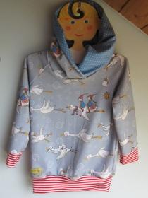 Lustige Hoody Kapuzen-Pulli in Öko Baumwolle  Größe zu Bestellen  Gänse reißen nach Süden. - Handarbeit kaufen
