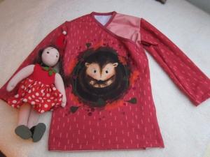 Baby rotes T-shirt top in rot, Baby Tunika mit Igel, T-shirt in Größe 92, verschieden Größen möglich