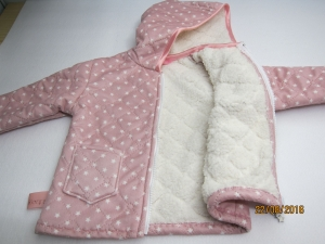Baby öko Stepp-Jacket rosa mit Sterne und Kapuze in grösse 86-92 Baby Winter Jacke mit Alpine Fleece  - Handarbeit kaufen