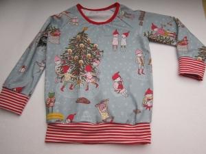 Weihnachsts T-shirt langarm rot/grau Bio Jersey Oh Tannenbaum.... Groeße 104 Weihnachten - Handarbeit kaufen