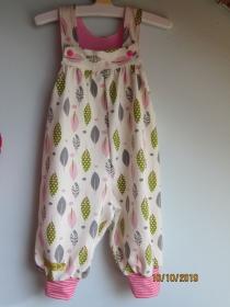 Öko-Strampler für Babies rosa Federn Strampler, Gr 74 Baby Strampler,  - Handarbeit kaufen