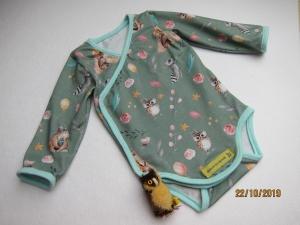 Langarm Baby Body mit Eule und Waldtiere organischer Jersey Gr 62-67. Baby Onesie,