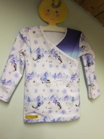BabyWickel Shirt  blau lilac Top  Winter Nordcap Polar Motif, Wickel T-shirt in Größe 92, Pinquin, Polar Bär, Polar Fuchs, Schnee Eule, Iltis, Schneehase