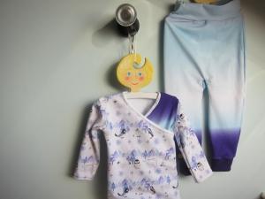 Baby Set Wickel Shirt und Pumphose blau lilac Top  Winter Nordcap Polar Motif, in Größe 92, Pinquin, Polar Bär, Polar Fuchs, Schnee Eule, Iltis, Schneehase