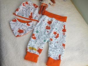 Baby Set Pumphose Dreiecks Schal und Mütze inFuchs Motiv in orange, in Größe 62