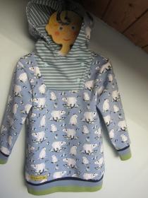 Winter Hoody Kapuzen Pulli in Öko Baumwolle  Größe 110,  Polar Bären - Handarbeit kaufen