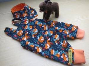 Warmer Öko Strampler und Halstuch marine blau und orangen Strampler mit Fuchsliebe für Babys Gr 48-52 cm