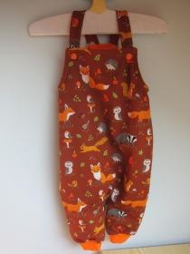 Herbst Foresttier rost/orange öko Strampler Gr. 56-62  Baby Strampler Mitwachs Herbst Waldtier Strampler  Öko Jerseystoff 1-3 mo