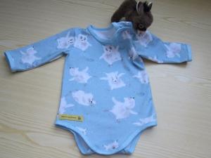 Langarm Baby Body Eulen in Freuden Taumel in hell blauer organischer Jersey Gr 62.