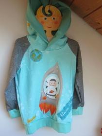 Rocketman Hoody Pullover in Öko Baumwolle Größe 110, Schlupf Hoodie pfefferminze.  - Handarbeit kaufen