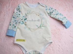 Baby Body Set öko Jersey Babybody und zwei Musselin Halstücher Gr. 62 (3 mo) und ein Bissring. - Handarbeit kaufen