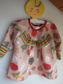 Mädchen Hängerchen Größe 74-80 Happy Veggies  Bio Baumwolle Jersey Kleidchen, sußes beiges Oberteil, Mädchen langarm Frühlings Kleid