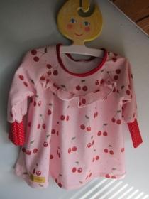 Mädchen Hängerchen Größe 74-80 Sweet Cherries  Bio Baumwolle Jersey Kleidchen, sußes rosa Oberteil, Mädchen langarm Frühlings Kleid  - Handarbeit kaufen