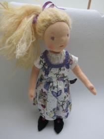 Stoff Puppe, Violetta Waldorf Stil, (32 cm), lila Feen Kleid, Mohair Haare,  - Handarbeit kaufen