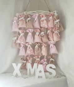 Adventskalender Stoffsäckchen ★ rosa/sand ★