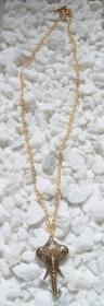 Lange goldfarbene Halskette mit einem ★ Elefantenkopf ★ Anhänger und Knebelverschluss
