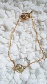 Goldiges Kettchen Armband filigran mit romantischen Zwischenornament