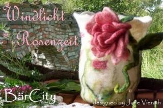 Windlicht Rosenzeit mit Nostalgie Rose, gefilzt,FilzatelierBaercity