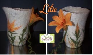 Windlicht Lilie sonnengelb orange, gefilzt,FilzatelierBaercity