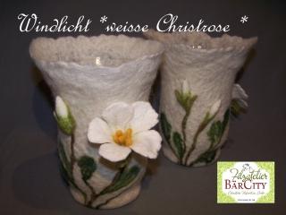 Windlicht Christrose weiss, gefilzt,FilzatelierBaercity