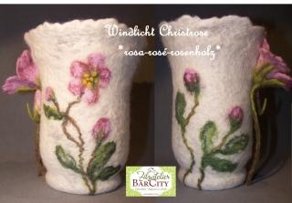 Windlicht Christrose rosa-rosé, gefilzt,FilzatelierBaercity