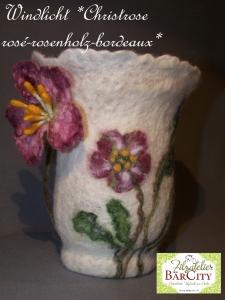 Windlicht Christrose rosenholz-bordeaux, gefilzt,FilzatelierBaercity