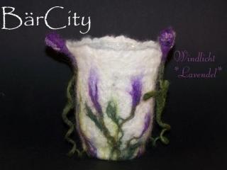Windlicht Lavendeltraum, gefilzt,FilzatelierBaercity