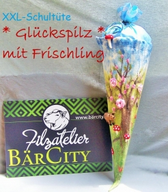 Schultüte *Glückspilz mit Frischling*,Einschulung,gefilzt,Filz,Filzatelier BärCity