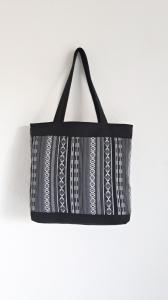 Einkaufstasche Ethno schwarz-weiß, Beutel, Shopper
