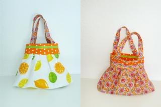 Kleine Kindertasche mit Blumen oder Zitronen, Shopper