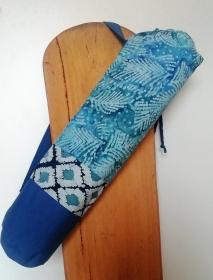 Yogatasche für Yoga oder Pilates Matte, blau gebatikt und Muster