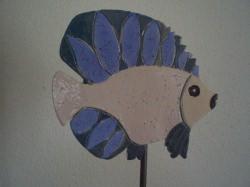 Keramik handgetöpferter Fisch als  Garten- oder Teichdekoration