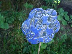 Keramik Gartenstecker handgetöpfert blau