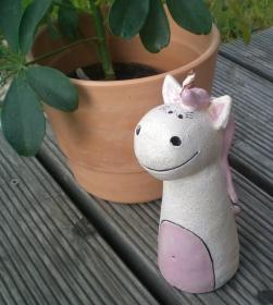 Einhorn Zaunhocker Pfostenhocker Keramik Gartendekoration