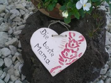 Keramik Herz Geschenkanhänger Die beste Mama