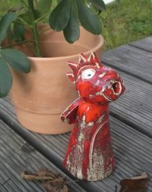Keramik Räucherdrachen rot Räucherware