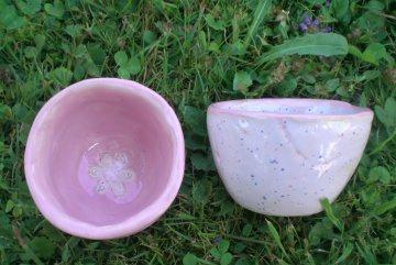Keramik Schüssel Schalen 2er Set Rosa Weiß für Dips und Naschereien